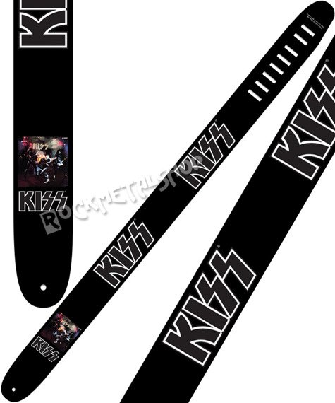 pas do gitary KISS - ALIVE WITH LOGO skórzany, 63mm
