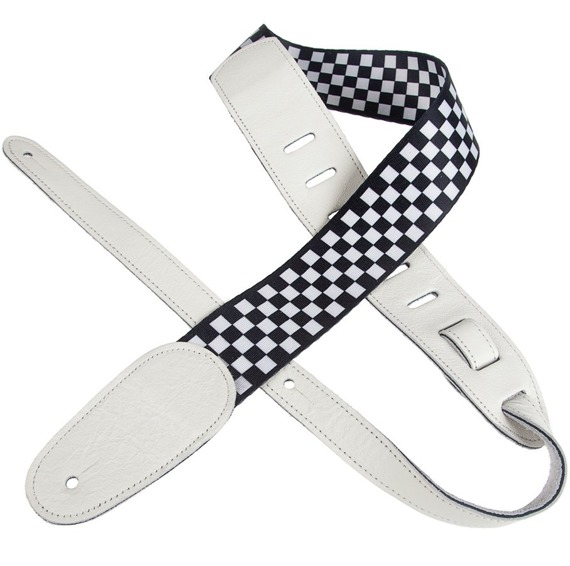 pas do gitary PERRI'S CHECKER & ITALIAN LEATHER WHITE 53 mm