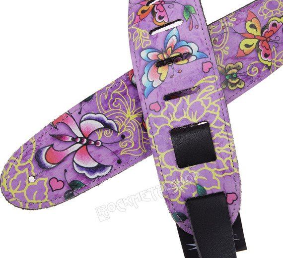 pas do gitary TATTOO JOHNNY - BUTTERFLIES skórzany, 63mm