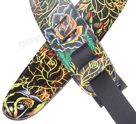 pas do gitary TATTOO JOHNNY - FLORAL DESIGN skórzany, 63mm