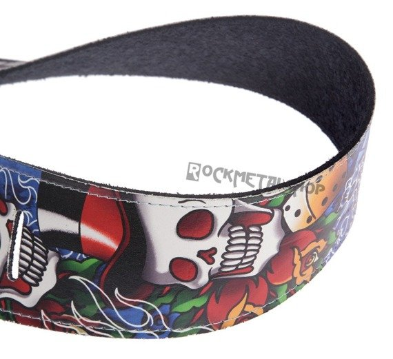 pas do gitary TATTOO JOHNNY - TOP HAT SKULL skórzany, 63mm
