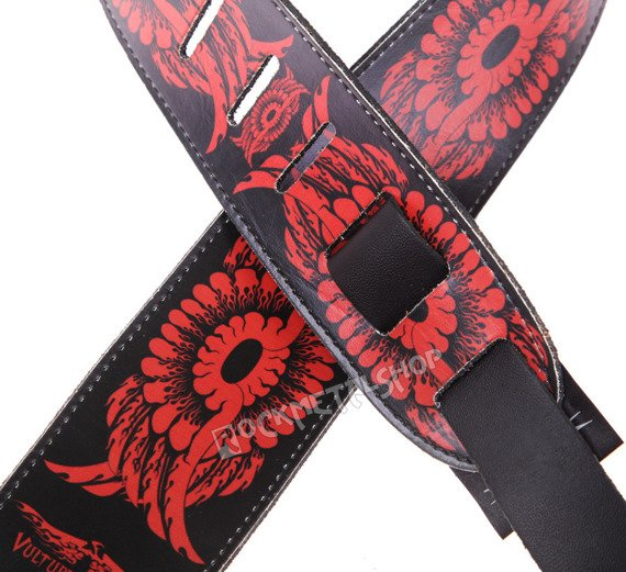pas do gitary VULTURE KULTURE - WINGS RED DESIGN skórzany, 63mm