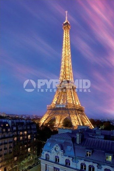 plakat EIFFEL TOWER AT DUSK