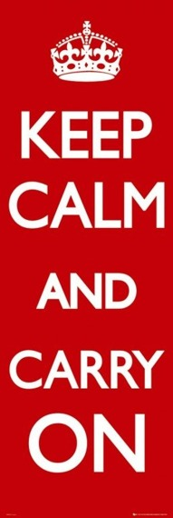 plakat na drzwi KEEP CALM CARRY ON