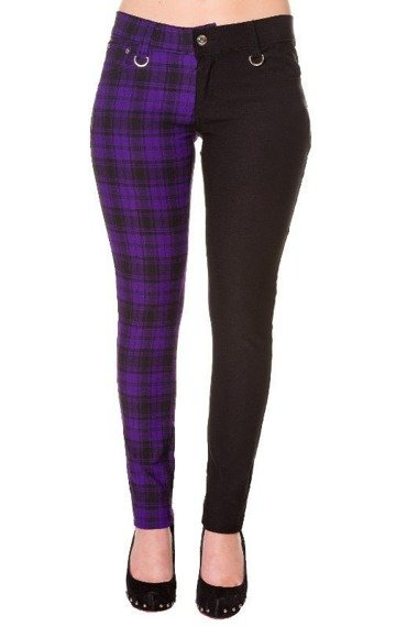 spodnie damskie BANNED - BLACK/PURPLE CHECK