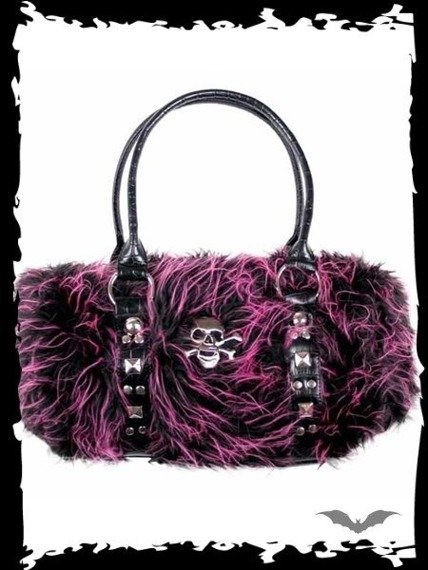 torebka PINK/BLACK FUR BAG