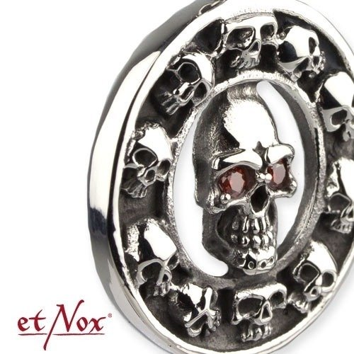 wisior SKULLS IN CIRCLE RED